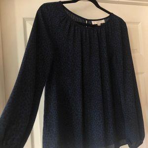 Loft blue and black blouse